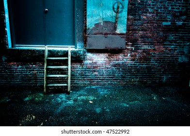 A set of short steps in a gritty alley.