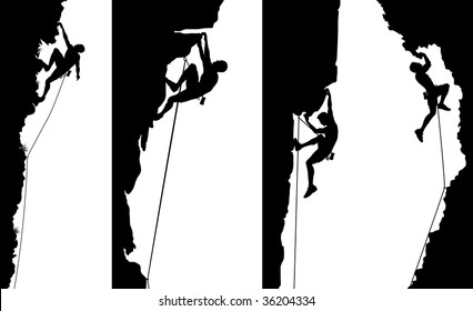 Set of side panel silhouettes of climbers