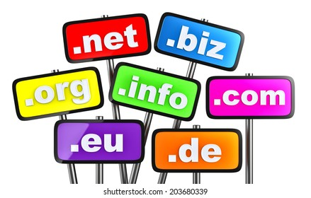 Set of signs with domains as buttons for searching in the Internet and social networks on a white background