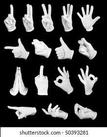Set of signs of the hands in white gloves on a black background