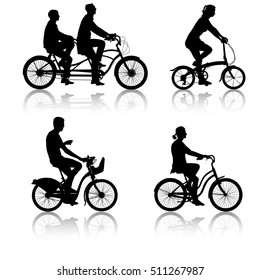 Set silhouette of a cyclist male and female. illustration.