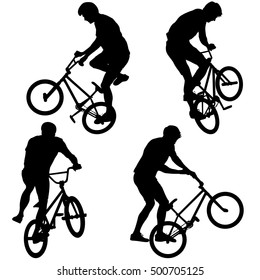 Set silhouette of a cyclist male performing acrobatic pirouettes. illustration.