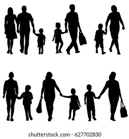 Set silhouette of happy family on a white background. illustration