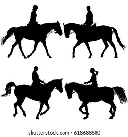 Set silhouette of horse and jockey