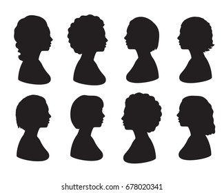 Set silhouette of woman head. Black illustration of side view of face. Isolated on white background.