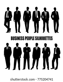 Set of silhouettes of business people in suit.