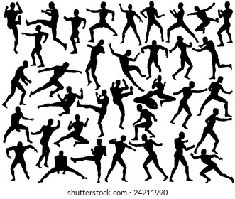 Set of silhouettes of fighting men (vector file also available)