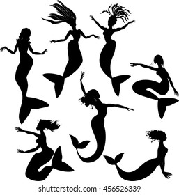 Set of silhouettes of mermaids