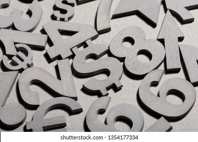 Set of silver numbers and currency symbols