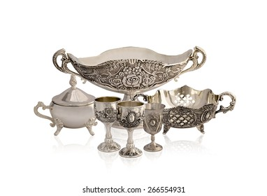 set of silver old ware
