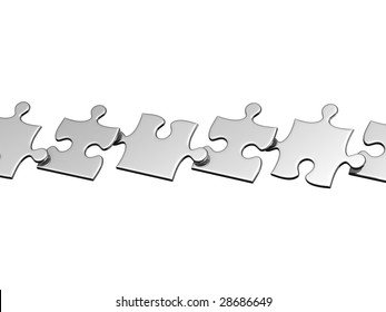 Set of silver puzzles flying in air. There is a clipping path