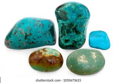 Set of Sinai Turquoise stones on white background