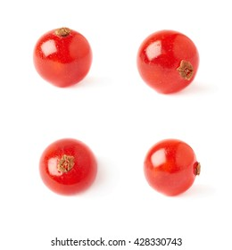 Set of Single red ripe  Currant berries isolated over white background