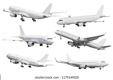 Set of six aircraft isolated from the white background