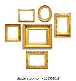 Set of six antique golden frames on white background