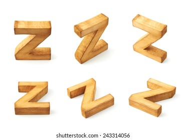Set of six block wooden capital Z letters in different foreshortenings isolated over the white background