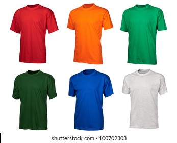 A set of six color cotton t-shirts isolated over white background, big size image