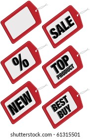 Set of Six Different Sale Tags - Sale, Percent, Top Product, New, Best Buy