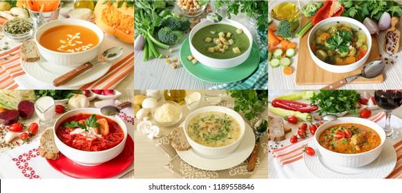 Set of six different soups borscht, kharcho, light vegetables, champignon mushrooms, broccoli celery and pumpkin puree soups.