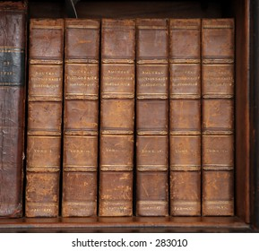 Set of six old leather bound books