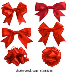 set of six red ribbon satin bows isolated on white
