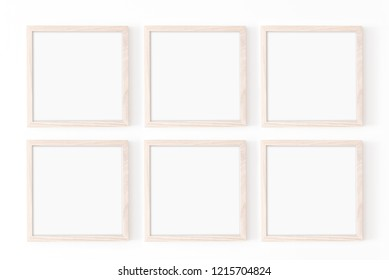 Set of six square frames. Wooden frame mockup on white wall. Poster mockup. Clean, modern, minimal frame. Empty fra.me Indoor interior, show text or product