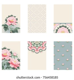 Set of six vertical business cards with peony flowers and geometry pattern. Illustration imitates traditional Chinese ink painting. Place for your text.