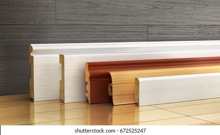 Set of skirting different form on a wood background. 3d illustration