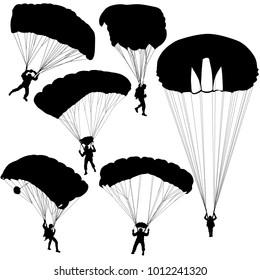Set skydiver, silhouettes parachuting illustration.