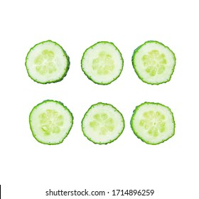Set of slice of cucumber isolated on white background. Top view