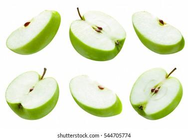 set of slice green apple on white background