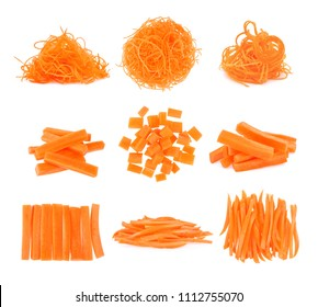 set of sliced carrot isolated on white background.