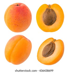A Set of Sliced Fresh Yellow Apricot Isolated on White Background in Full Depth of Field with Clipping Path.