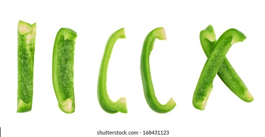 Set of sliced green bell pepper section pieces isolated over white background
