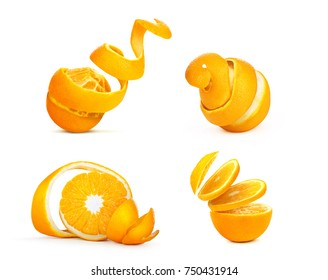 set of sliced ??oranges isolated on a white background
