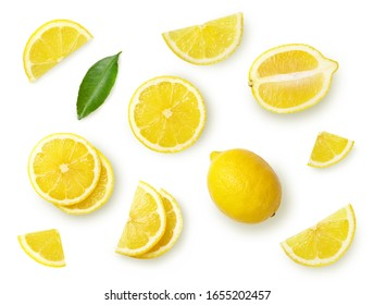A set of sliced lemon isolated on white background. Top view. - Shutterstock ID 1655202457