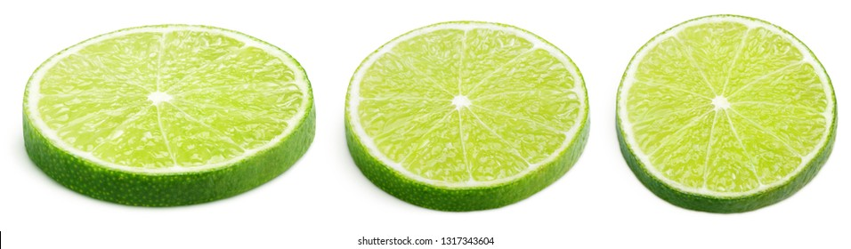 Set of sliced lime citrus fruit lying down isolated on white background. Lime slices with clipping path. Full depth of field.