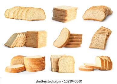 Set with slices of bread for toasting on white background