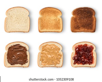 Set of slices toast bread with chocolate spread, peanut butter and jam. Isolated on white