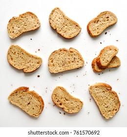 Set of slices toast bread isolated on a white background, top view