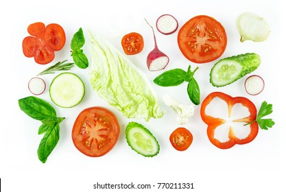 Set of slices of vegetables isolated on white background top view, design for vegetable menu. Tomat, onion, cucumber sweet pepper zucchini Peking cabbage cauliflower radish basil.