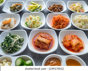 Set of slide food in white small plate serve in korean style barbecue restaurant, many kind of vegetable for healthy food.
