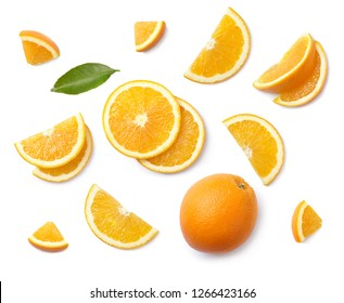 A set of slised orange isolated on white background. Top view. - Shutterstock ID 1266423166