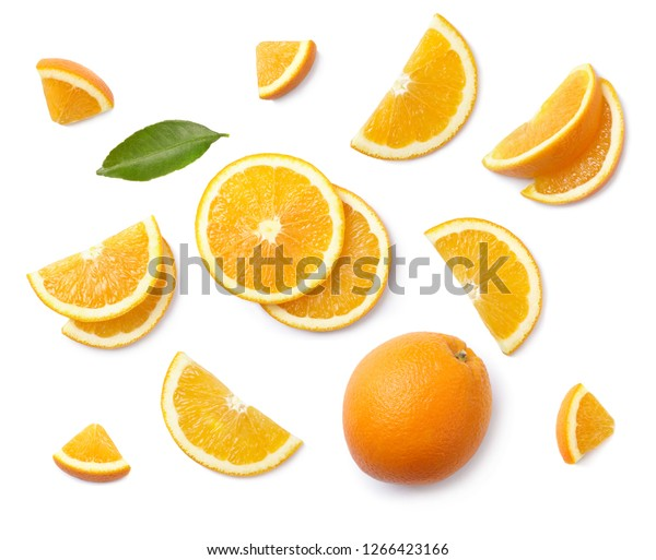 A set of slised orange isolated on white background. Top view.