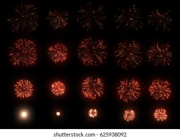 A set of slow motion red fireworks on black background, isolated animation without cropping, collage of beautiful fireworks exploding in the night sky.