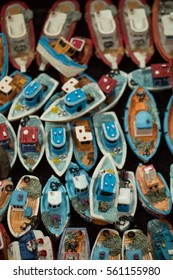 Set of small colorful model boats