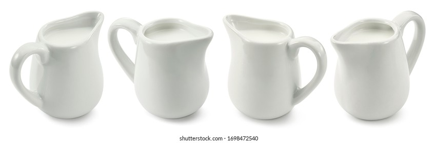 Set of small milk jars or creamers isolated on white background. Package design element with clipping path