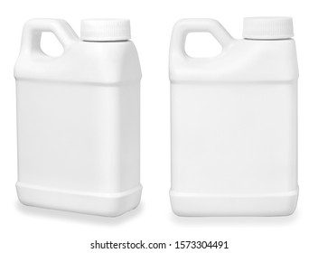 set of small white plastic canister isolated on white