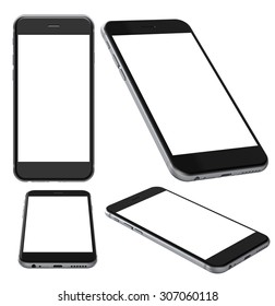Set of Smartphones with blank screen, isolated on white background - high detailed 3d render illustration