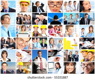 Set of smiling workers people. Business people, businessman, doctors, builders